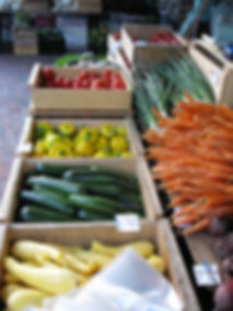display of veggies at market