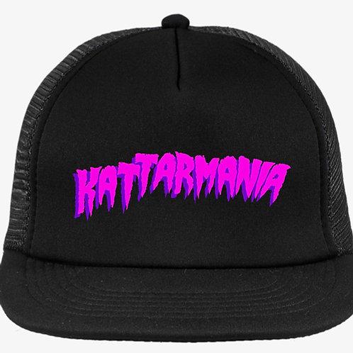 Kattarmania Trucker Hat (Black/Black) Neon Pink Font