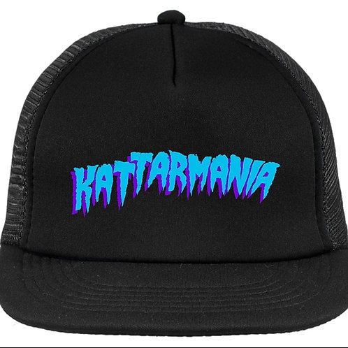 Kattarmania Trucker Hat (Black/Black) Neon Blue Font