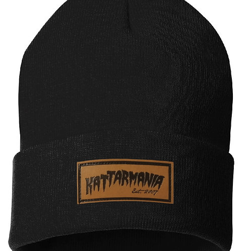 Black Kattarmania Winter Hat w/ Leather Patch