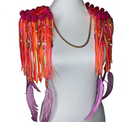The Siem Sunset Feather Sequin Tassel Epaulettes