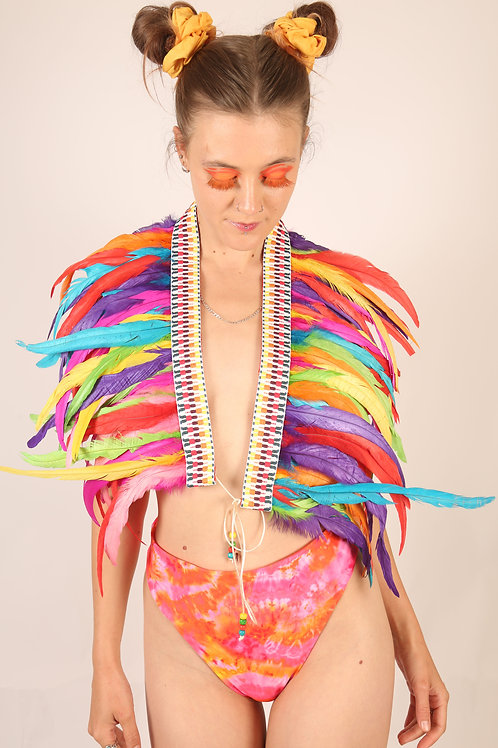 The Rainbow in Rio Feather Collar