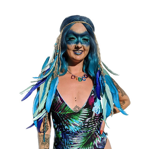 The Ocean Blues Feather Rope Headpiece