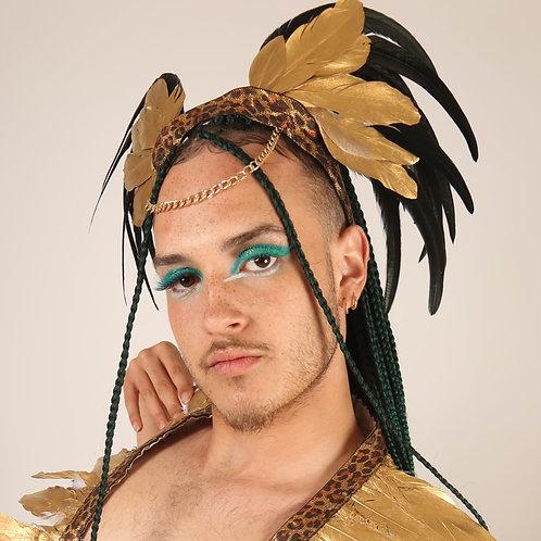 The Golden Leopard Feather Headpiece