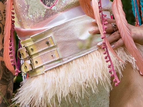 The Flamingo Fantasy Feather Belt