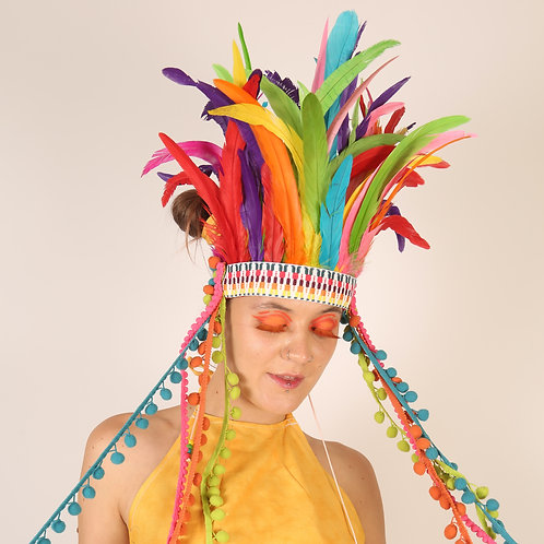 The Rainbow in Rio Feather Headpiece