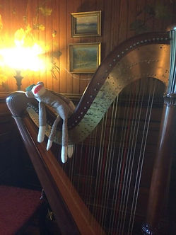 Every harp needs a sock monkey.  Wearing