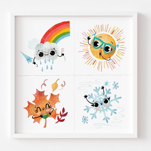 Four Seasons / Weather Illustration