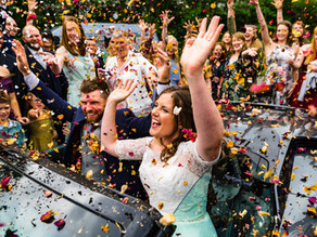 Emily & Tim's blue and orange-themed wedding