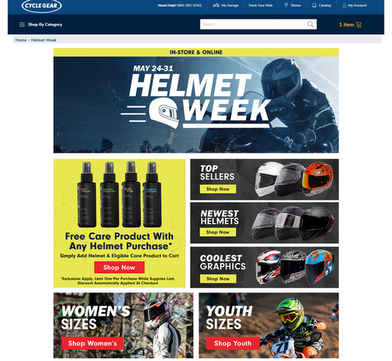 Complete site asset design for Helmet Week, a 2 week long event at the beginning of Riding season.