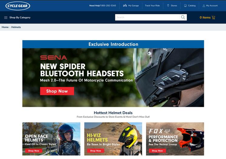 Site asset designs for Helmet page