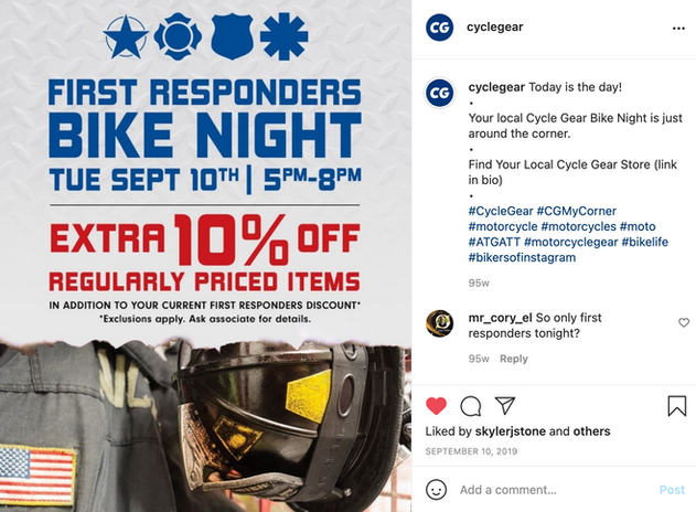 Social Post for our Bike night for First Responders 2019
