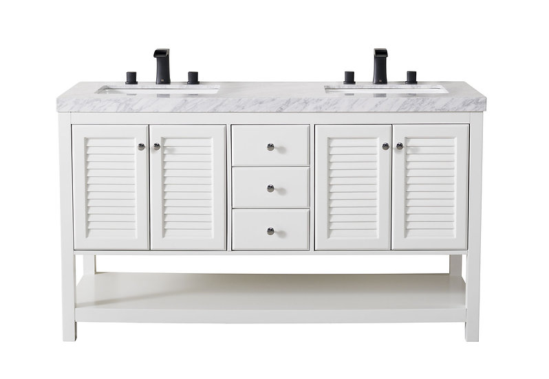 "Luthor 60"" White Double Sink Vanity with Drains and Faucets in Matte Black"