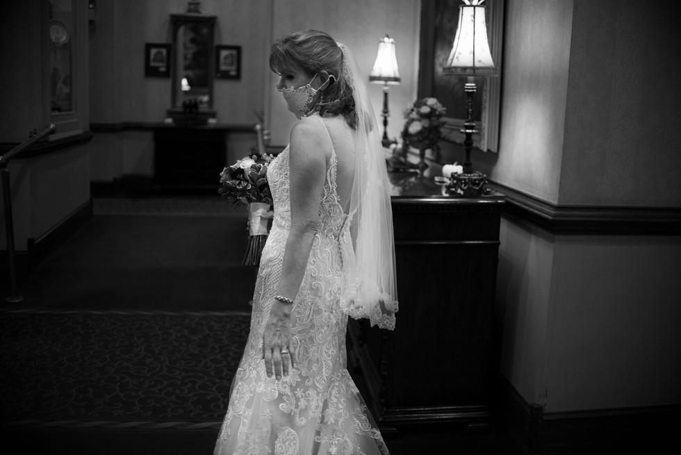 Candid bride portrait black and white