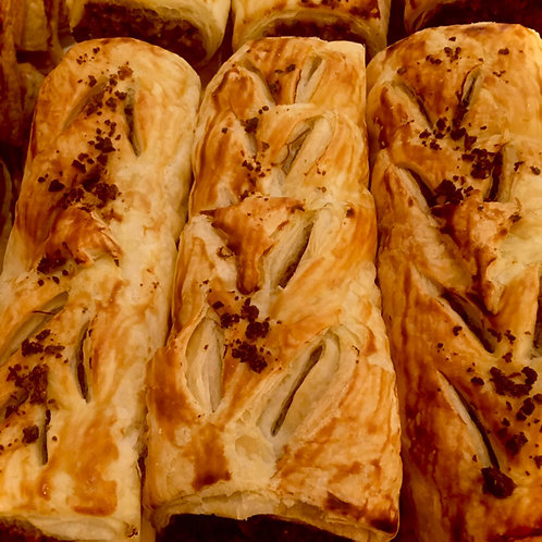 Fully Baked Festive Sausage Rolls with Chestnuts and Cranberries (Box of 12)