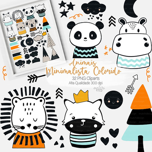 Cliparts | Animais Minimalistas Coloridos