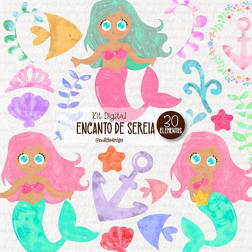 Cliparts | Sereias Morenas Aquarelável