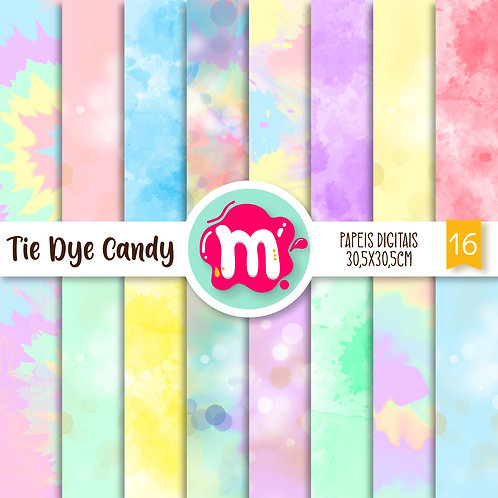 Papeis Digitais | Tie Dye Candy Colors