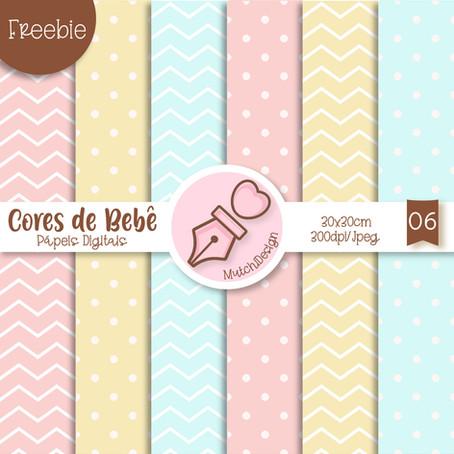 Freebies Pápeis Digitais Cores de Bebê