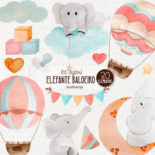 Cliparts   Elefante Baloeiro Aquarelável