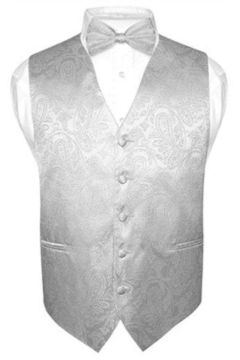 Men's Paisley Vest Silver