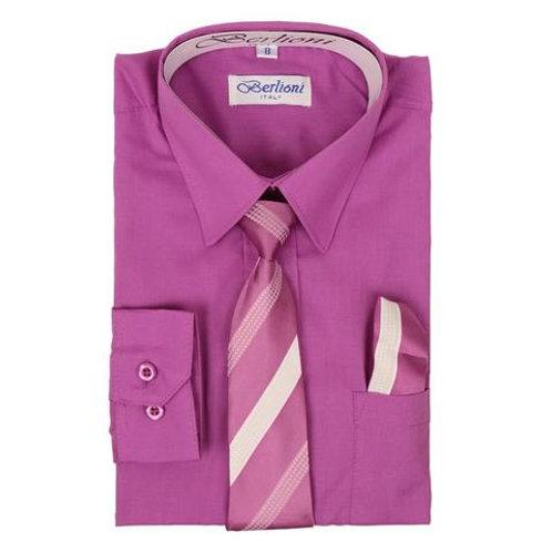 Berlioni Kids Shirt with Tie and Handkercheif