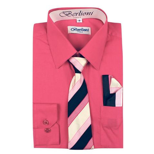 Berlioni Kids Shirt with Tie and Handkercheif