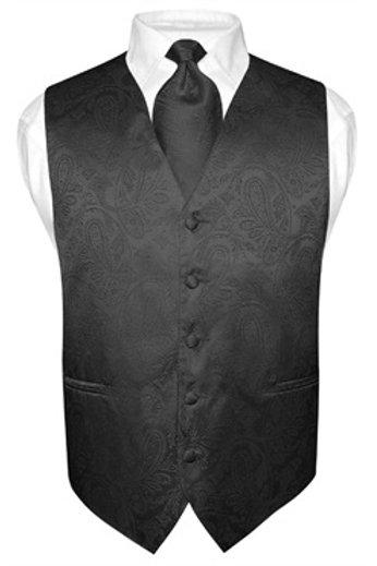 Men's Paisley Vest Black