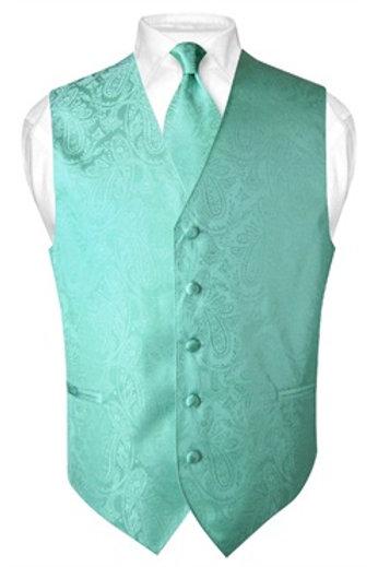 Men's Paisley Vest Aqua