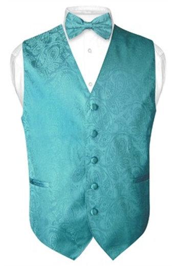 Men's Paisley Vest Teal