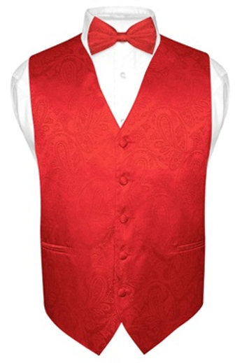 Men's Paisley Vest Red