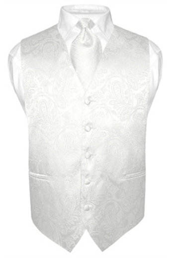 Men's Paisley Vest White