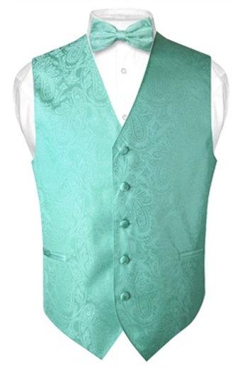 Men's Paisley Vest Turquoise