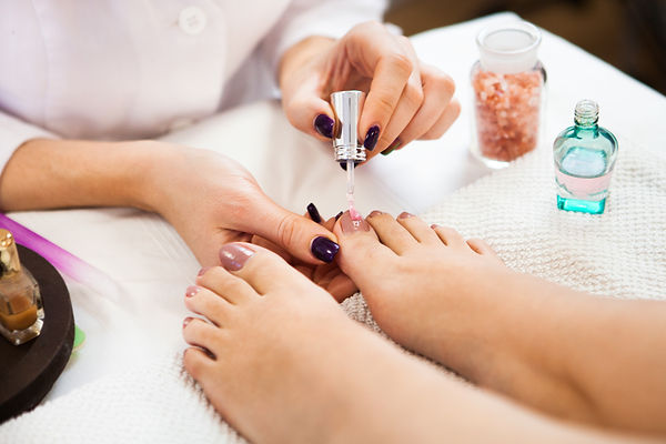 Pedicure in beauty spa salon. Beautician