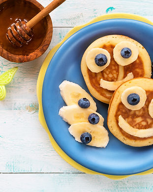 Fun food for kids - cute smiling faces o
