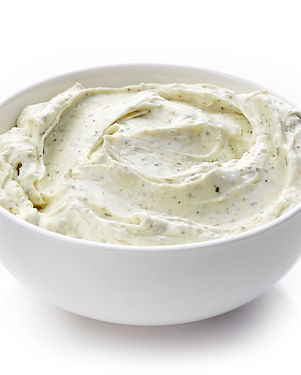 bowl of cream cheese with herbs, dip sau