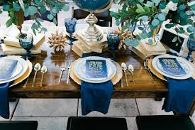 Bold Blues and Golds on a Farm Table Recreate this Look with Taylor Rental of Manchester and West Hartford