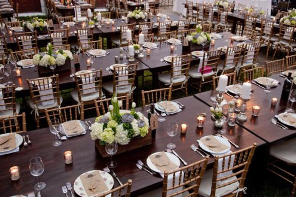 Long Sweeping Farm Tables available at Taylor Rental of Manchester and West Hartford