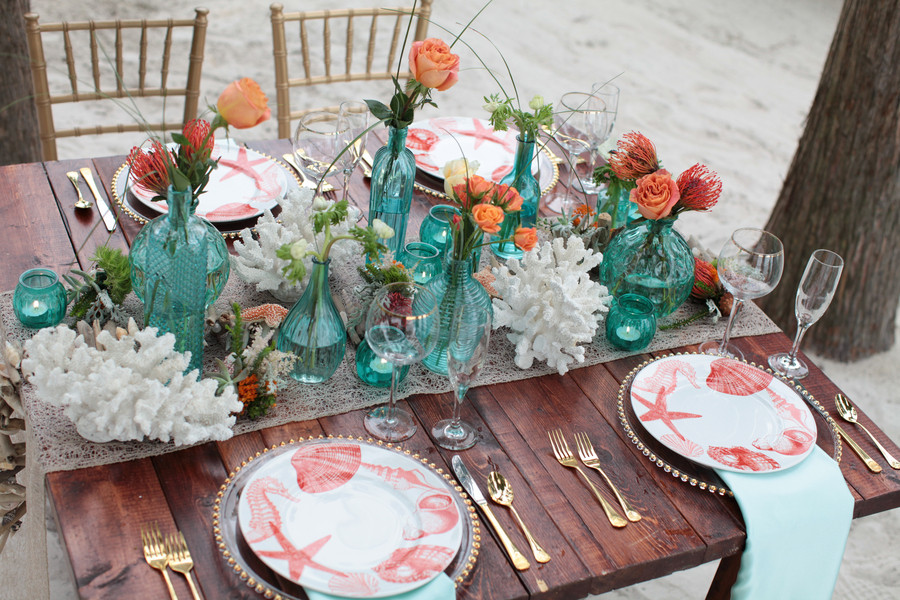 Beach Farm Table with Aqua and Gold available at Taylor Rental of Manchester and West Hartford