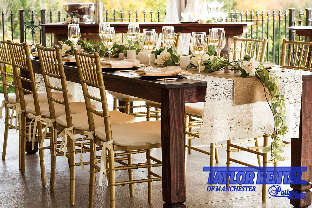 Lace and Farm Tables.  This look available at Taylor Rental of Manchester and West Hartford