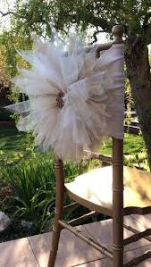 Tulle Flower Chiavari with Jeweled Pin