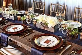 Regal Blues on a Farm Table.  Recreate this Look with Taylor Rental of Manchester and West Hartford