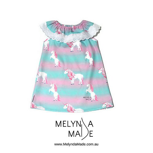 MelyndaMade Handmade Children's Clothes Seaside Dress Teal and Pink Unicorns