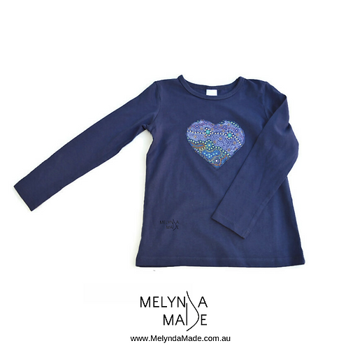 MelyndaMade Handmade Indigenous Childrens Clothes Heart T Yalke Blue