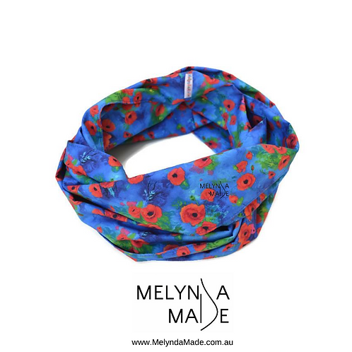 MelyndaMade Handmade Ladies Infinity Scarf Poppies on Blue