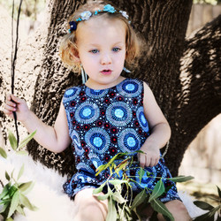 MelyndaMade Handmade Childrens Clothes Indigenous Revrsible Pinny WF Baby Blue