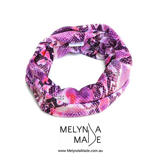 MelyndaMade Handmade Ladies Infinity Scarf Velvet Snake Pink