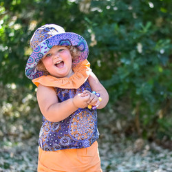 MelyndaMade Handmade Childrens Clothes Indigenous reversible bucket hat FLAR and mango