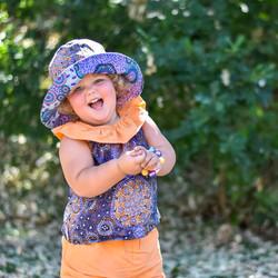 MelyndaMade Handmade Childrens Clothes Indigenous reversible bucket hat FLAR and mango