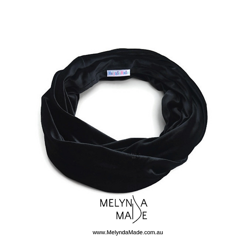 MelyndaMade Handmade Ladies Infinity Scarf Velvet Spandex Black